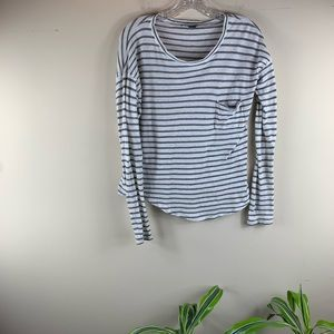 Vince Cream, Grey Striped Long Sleeve Pocket Tee